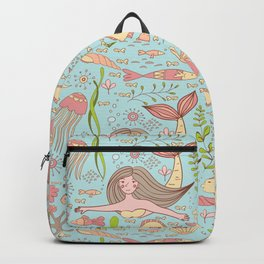 Pattern with mermaid, fishes, coral, shell, seahorse and seaweeds. Backpack