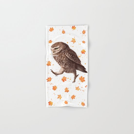 Autumn owl with leaves Hand & Bath Towel