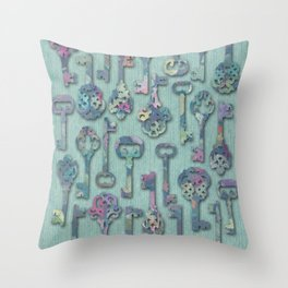 Pastel Skeleton Keys Throw Pillow