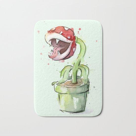 Piranha Plant Watercolor Geek Gaming Mario Art Bath Mat