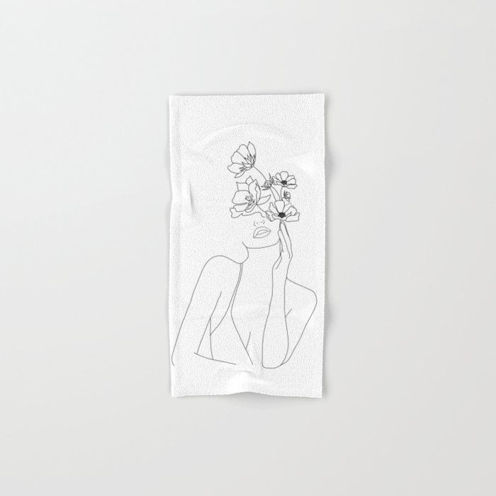 Minimal Line Art Woman with Flowers Hand & Bath Towel