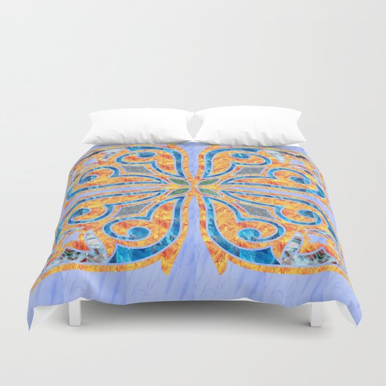 Blue Oriental Tile 02 Duvet Cover