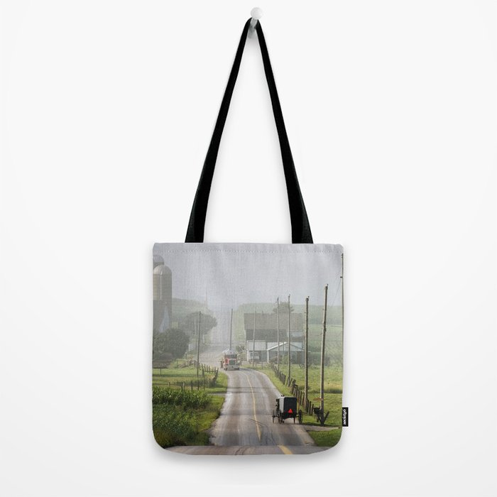 Amish Buggy confronts the Modern World Tote Bag