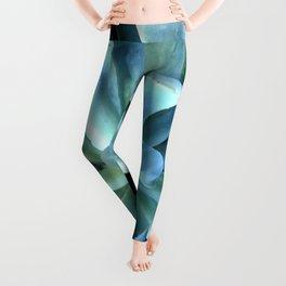 Breathtaking Ribbon-Shaped Aqua Blue Succulent Leggings