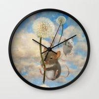 onesie Wall Clocks featuring Dandemouselings by Aimee Stewart