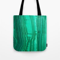 malachite Tote Bags featuring Malachite Stone by BrooklynThread