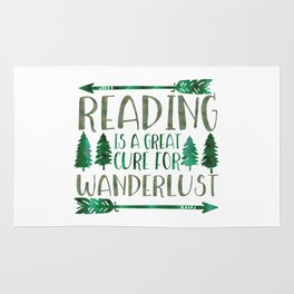 Reading is a Great Cure for Wanderlust (Green) Rug