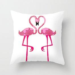 Flamingo  in love Throw Pillow
