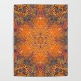 mandala 1 orange #mandala #orange Poster