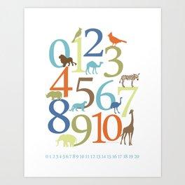 Animal Numbers -  Safari colorway Art Print