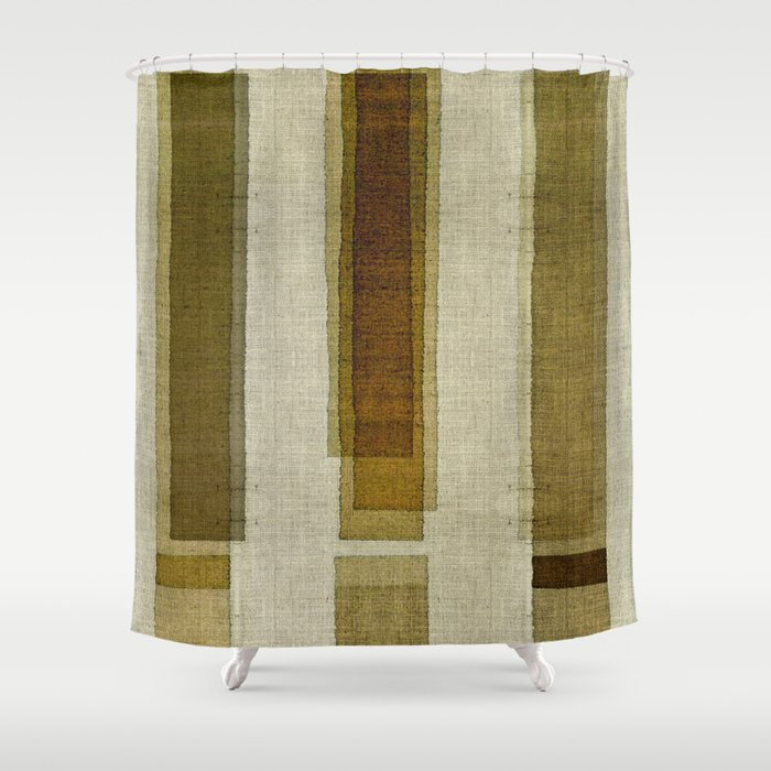Burlap Texture Greenery Columns Shower Curtain By Marcanton