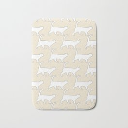 Minimal Cat Pattern Tan and White Simple Line Bath Mat