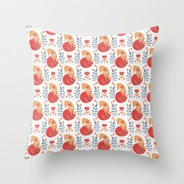 Orange foxes with ornaments, flowers. Decorative seamless pattern in Scandinavian style. Folk Art. Throw Pillow