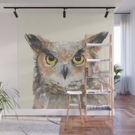 Owl Great Horned Owl Watercolor Wall Mural