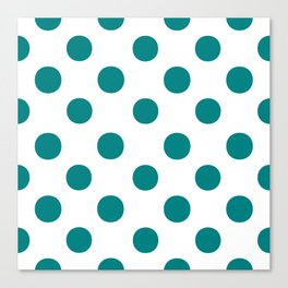 Polka Dots (Teal/White) Canvas Print