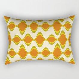Retro Psychedelic Wavy Pattern in Orange, Yellow, Olive Rectangular Pillow