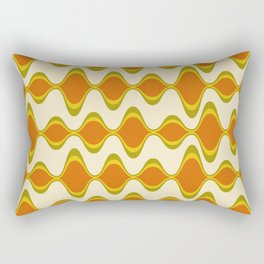 Retro Psychedelic Wavy Pattern in Orange, Yellow, Olive Rectangular Pillow