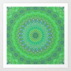 Green web mandala Art Print