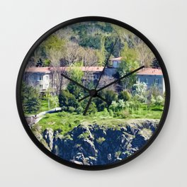 Big house on the river bank Wall Clock