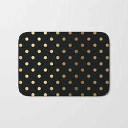 Gold polka dots on black pattern Bath Mat