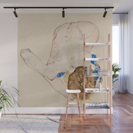"""Egon Schiele """"Nude with Blue Stockings, Bending Forward"""" Wall Mural"""