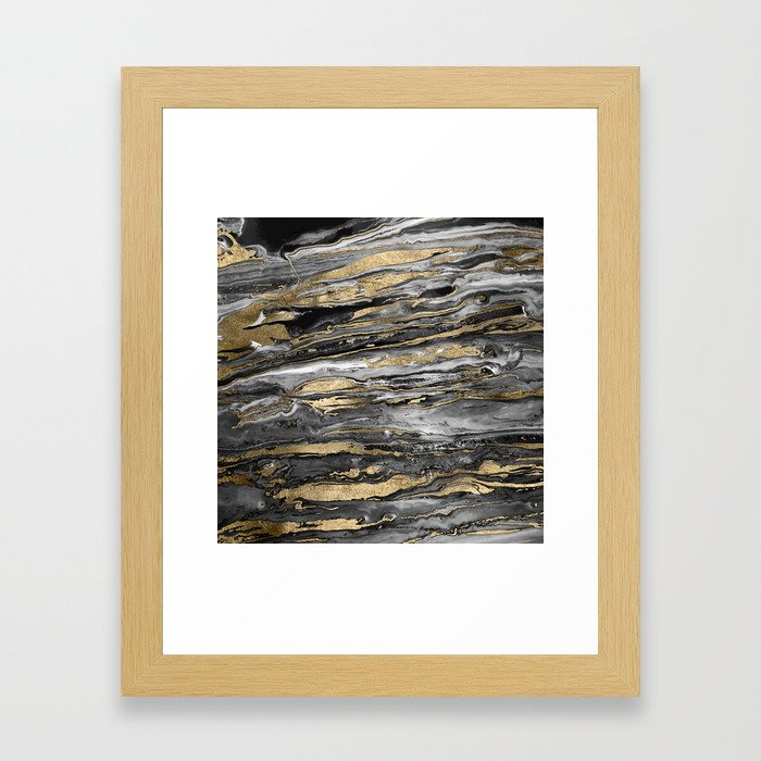 Stylish gold abstract marbleized paint Framed Art Print