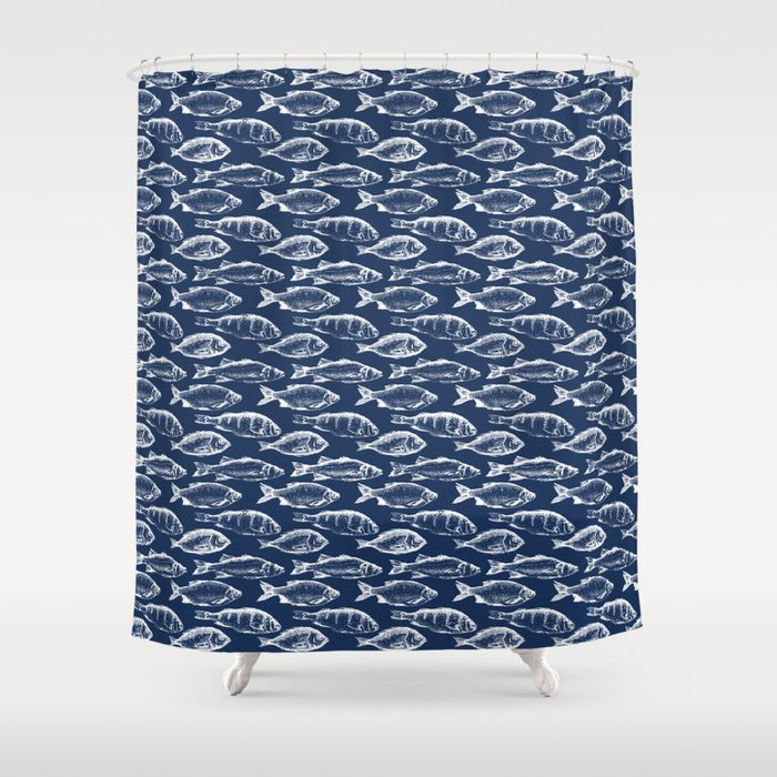 Fish // Navy Blue Shower Curtain