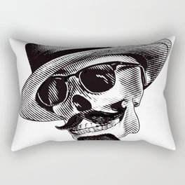 Hipster Skull in Black and White Rectangular Pillow