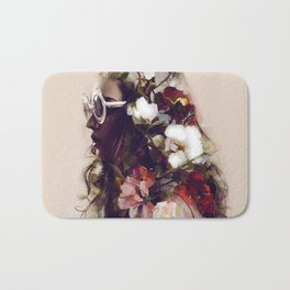 The girl with the flowers in her hair Bath Mat