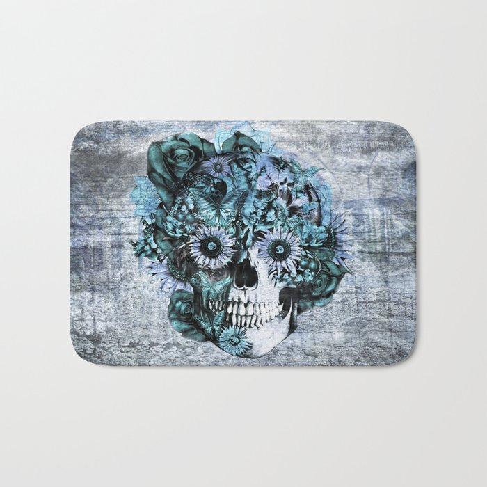 Blue grunge ohm skull Bath Mat