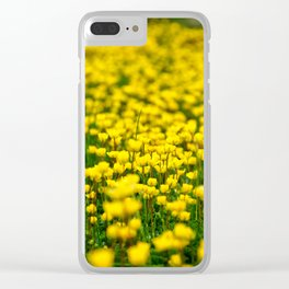 Small yellow wild flowers in the green field Clear iPhone Case