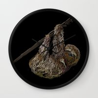 sloth Wall Clocks featuring sloth  by JosephMills