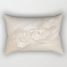 Fabulous butterflies and wattle with textured chevron pattern in subtle iced coffee Rectangular Pillow