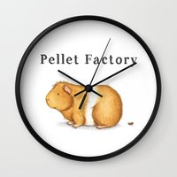 guinea pig Wall Clocks featuring Pellet Factory - Guinea Pig Poop by When Guinea Pigs Fly