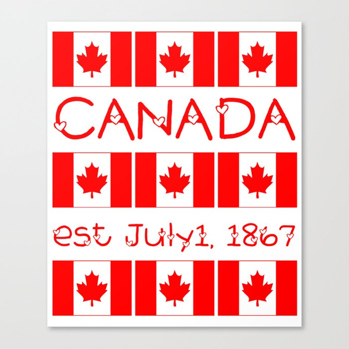Canada Day Maple Leaf Pattern Canadian Flag Canvas Print By