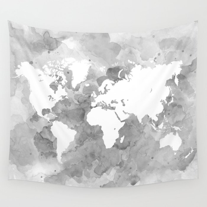 Design 49 Grayscale World Map Wall Tapestry