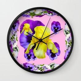PINK COLOR PURPLE & WHITE PANSIES YELLOW IRIS Wall Clock