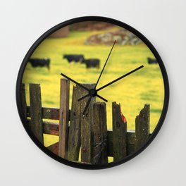 Pasture, fence and cows Wall Clock