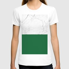 emerald green and white marble T-shirt