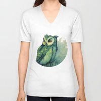 face V-neck T-shirts featuring Green Owl by Teagan White