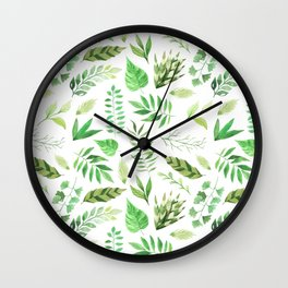 Artistic hand painted forest green watercolor leaves pattern Wall Clock