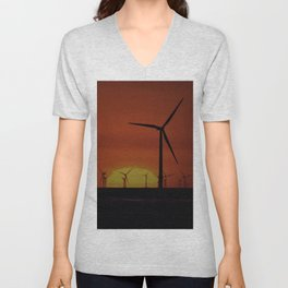 Windmills at Sunset  Unisex V-Neck
