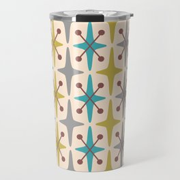 Mid Century Modern Abstract Star Pattern 441 Gray Brown Turquoise Olive Green Travel Mug