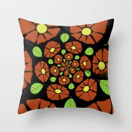 The Red Flower Polka Throw Pillow
