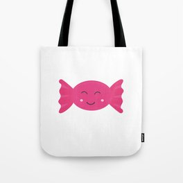 Pink candy bonbon with smile Tote Bag