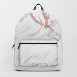 Rose gold deer - soft white marble Backpack
