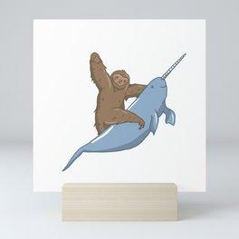 Narwhal Unicorn Beluga Sea Life Sloth Tusk Gift Mini Art Print