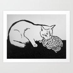 Cat eating Brain Art Print