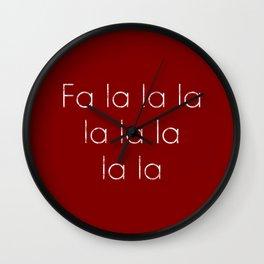Fa la la la la la la la la Words Christmas Carol Lyric Minimalist Modern Art Wall Clock