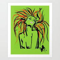 her art Art Prints featuring Her by WDeluxe